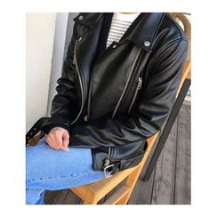 FROMBEGINNING - Faux-Leather Diagonal-Zip Rider Jacket