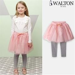 WALTON kids - Girls Inset Tulle Skirt Leggings