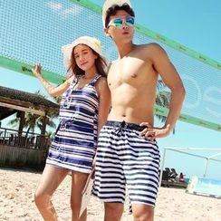 Tamtam Beach - Couple Matching Set: Striped Bikini + Dress / Beach Shorts