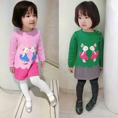 Happy Lala - Kids Long-Sleeve Rabbit-Pattern Knit Dress