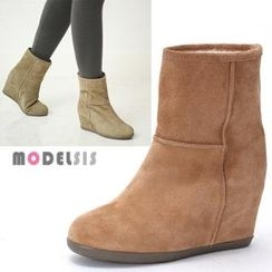 MODELSIS - Genuine Leather Hidden-Heel Ankle Boots