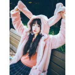 GOGO Girl - Ear Hooded Furry Coat