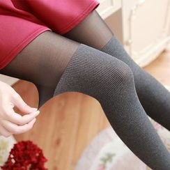 Cappuccino - Panel Ribbed Tights
