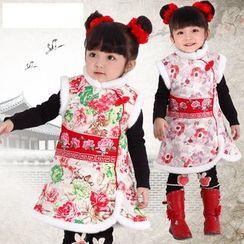 Emperial - Kids Embroidered Fleece-lined Sleeveless Cheongsam