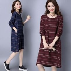 Yeeya - Striped Long-Sleeve T-Shirt Dress