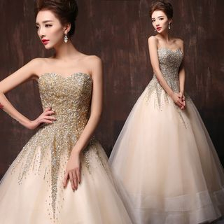 Coeur Wedding - Sequined Strapless Ball Gown