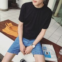 JUN.LEE - Short-Sleeve Mock Neck T-Shirt