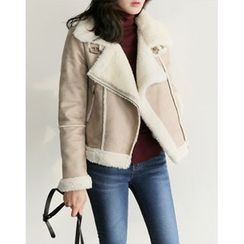 UPTOWNHOLIC - Zip-Detail Faux-Shearling Jacket