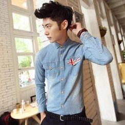 Fisen - Long-Sleeve Union Jack Denim Shirt