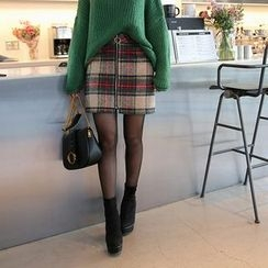DABAGIRL - Zip-Up Plaid Mini Skirt