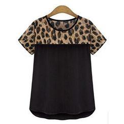 LIVA GIRL - 豹紋雪紡T恤