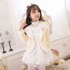 Candy Rain - Kids Lace Trim Wool Blazer