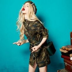 ELF SACK - Long-Sleeve Camouflage-Print Shirtdress
