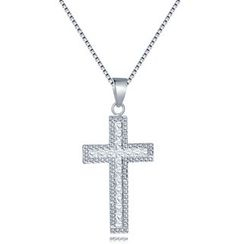 MaBelle - 14K White Gold Cross with Diamond Cut Necklace (16'')