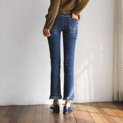 JUSTONE - Fringe-Hem Washed Straight-Cut Jeans