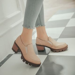 Pastel Pairs - Stitch Detailed Chunky Heel Loafers