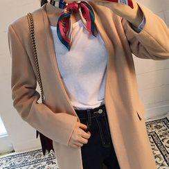 chuu - Deep V-Neck Wool Blend Coat