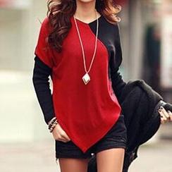 Rocho - Long-Sleeve Color Block T-Shirt