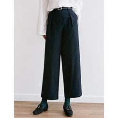 FROMBEGINNING - Pleated-Front Wide-Leg Pants