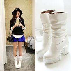 Shoes Galore - Chunky Heel Faux Leather Boots
