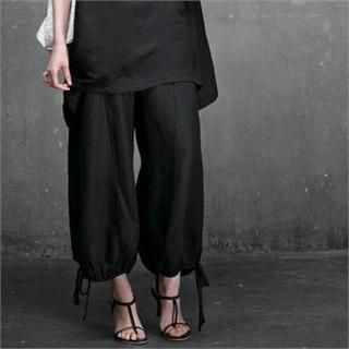 HALUMAYBE - Drawstring-Hem Loose-Fit Pants