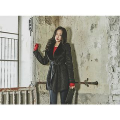 UUZONE - Faux-Shearling Coat with Sash
