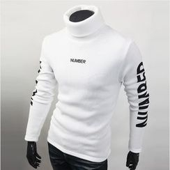 WIZIKOREA - Turtle-Neck Lettering T-Shirt