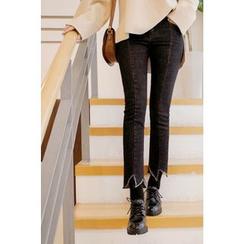 CHERRYKOKO - Cutout-Hem Slim-Fit Jeans