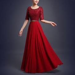 Bridal Workshop - Short Sleeve A-Line Evening Gown
