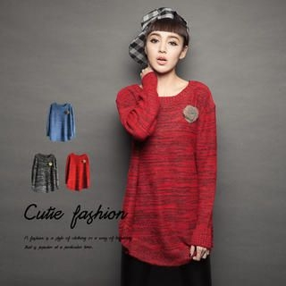 CUTIE FASHION - Pompom-Accent Mélange Sweater