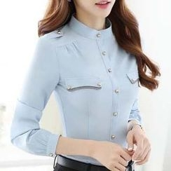 Eferu - Stand Collar Long-Sleeve Shirt