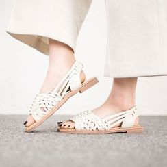 VIVIER - Faux-Leather Woven-Pattern Sandals