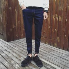 Chuoku - Embroidered Slim-Fit Jeans