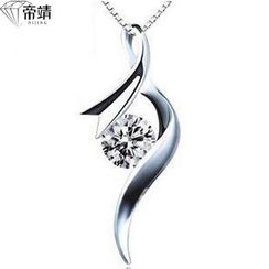 DIJING - Crystal Pendant Sterling Silver Necklace