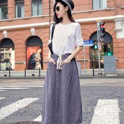 Sienne - Set: 3/4-Sleeve Top + A-Line Midi Skirt