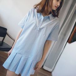 Wimi girls - Pleated Hem Half Placket Short Sleeve Shirtdress