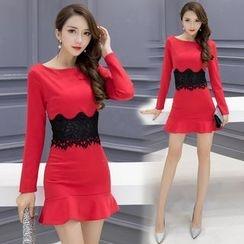 Gl.bY - Long-Sleeve Lace Panel Sheath Dress
