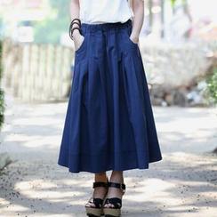 Zen Girl - Linen Pleated Midi Skirt