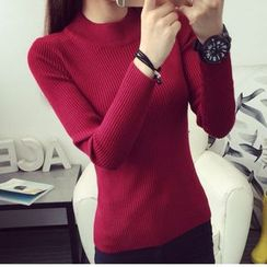 anzoveve - Mock-neck Ribbed Knit Top