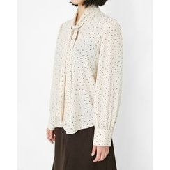 Someday, if - Tie-Front Polka-Dot Blouse
