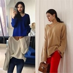 LIPHOP - V-Neck Loose-Fit Knit Top