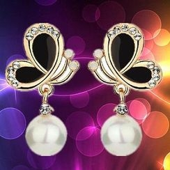 Best Jewellery - Butterfly Faux-Pearl Drop Earrings