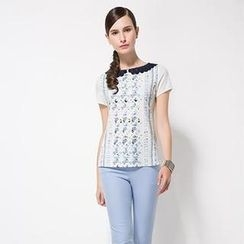 O.SA - Set: Lace-Collar Floral Blouse + Pants