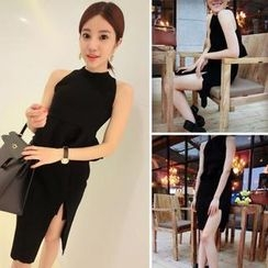 QZ Lady - Set: Sleeveless Peplum Top + Slit Pencil Skirt
