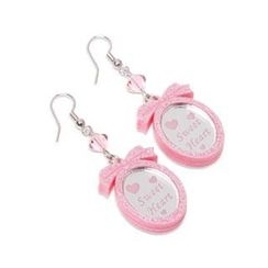 Sweet & Co. - Pink Glitter Sweet Heart Pendant Swarvoski Dangle Earrings