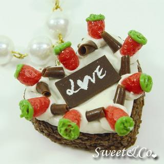 Sweet & Co. - Chocolate Strawberry Love Heart Cake Pearl Necklace