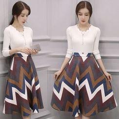 Fiorire - 套裝: 針織套衫 + A字中長裙