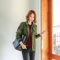 Seoul Fashion - Cotton Buttoned Jacket