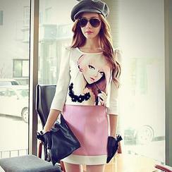 Dabuwawa - Set: Girl-Print Top + Skirt