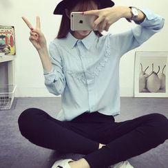 SUYISODA - Flower Long-Sleeve Shirt